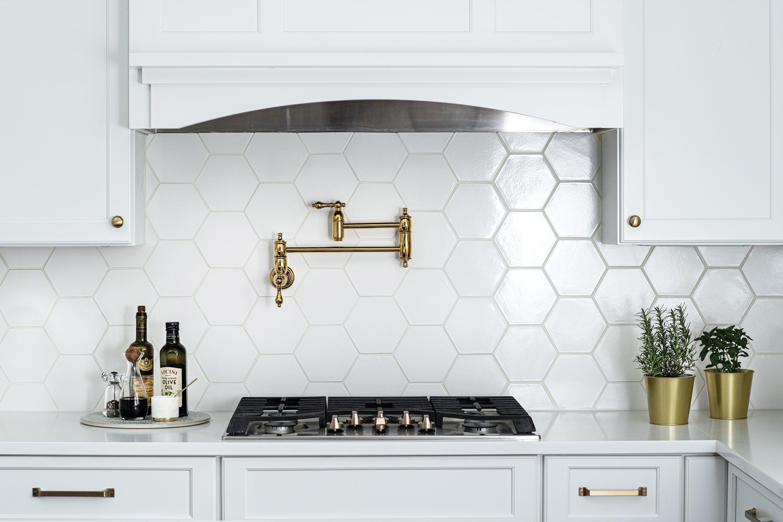 white hexagon backsplash white kitchen