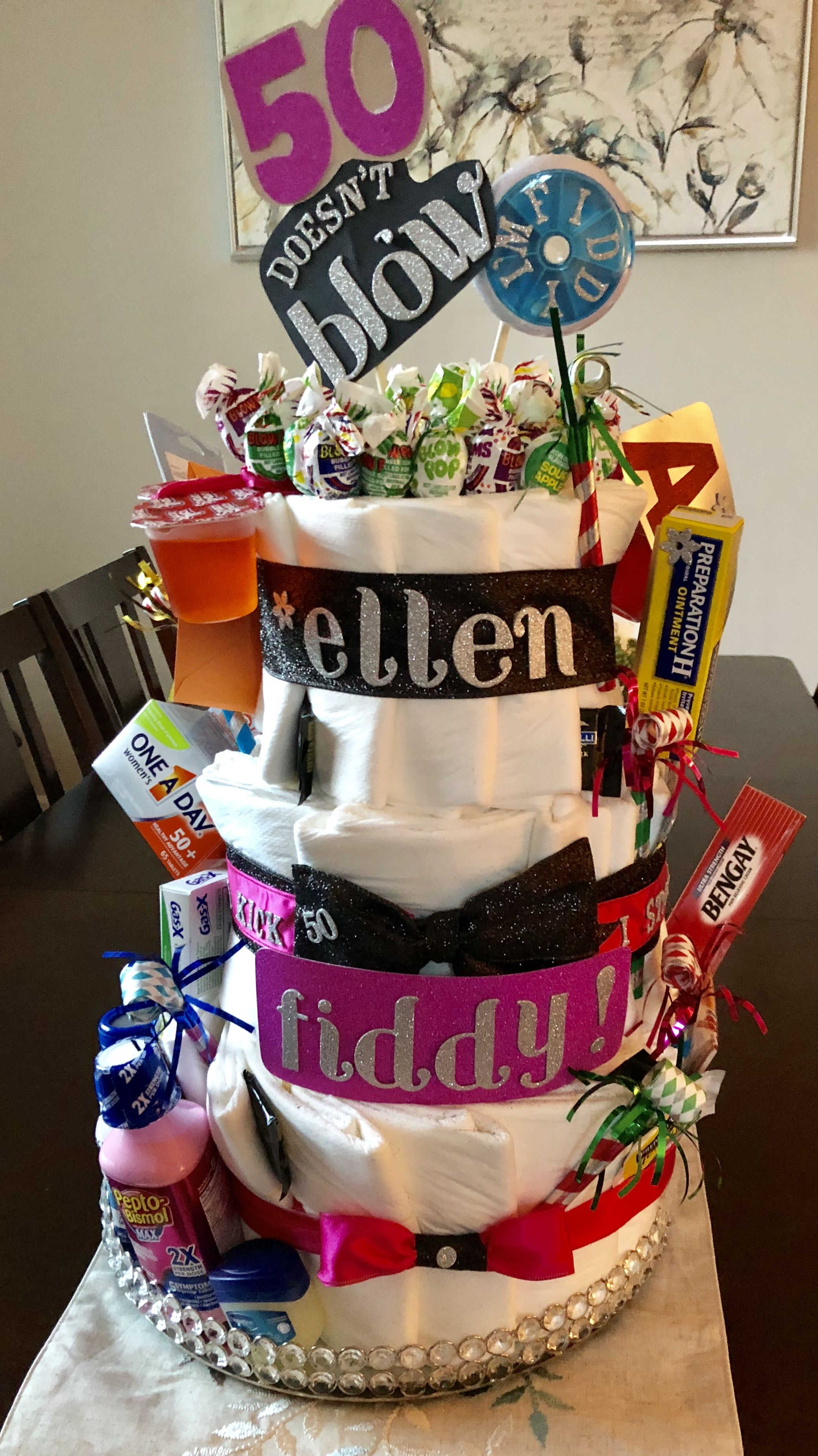 Remarkable 50Th Birthday Ideas The Depends Diaper Cake For My Friends Personalised Birthday Cards Vishlily Jamesorg