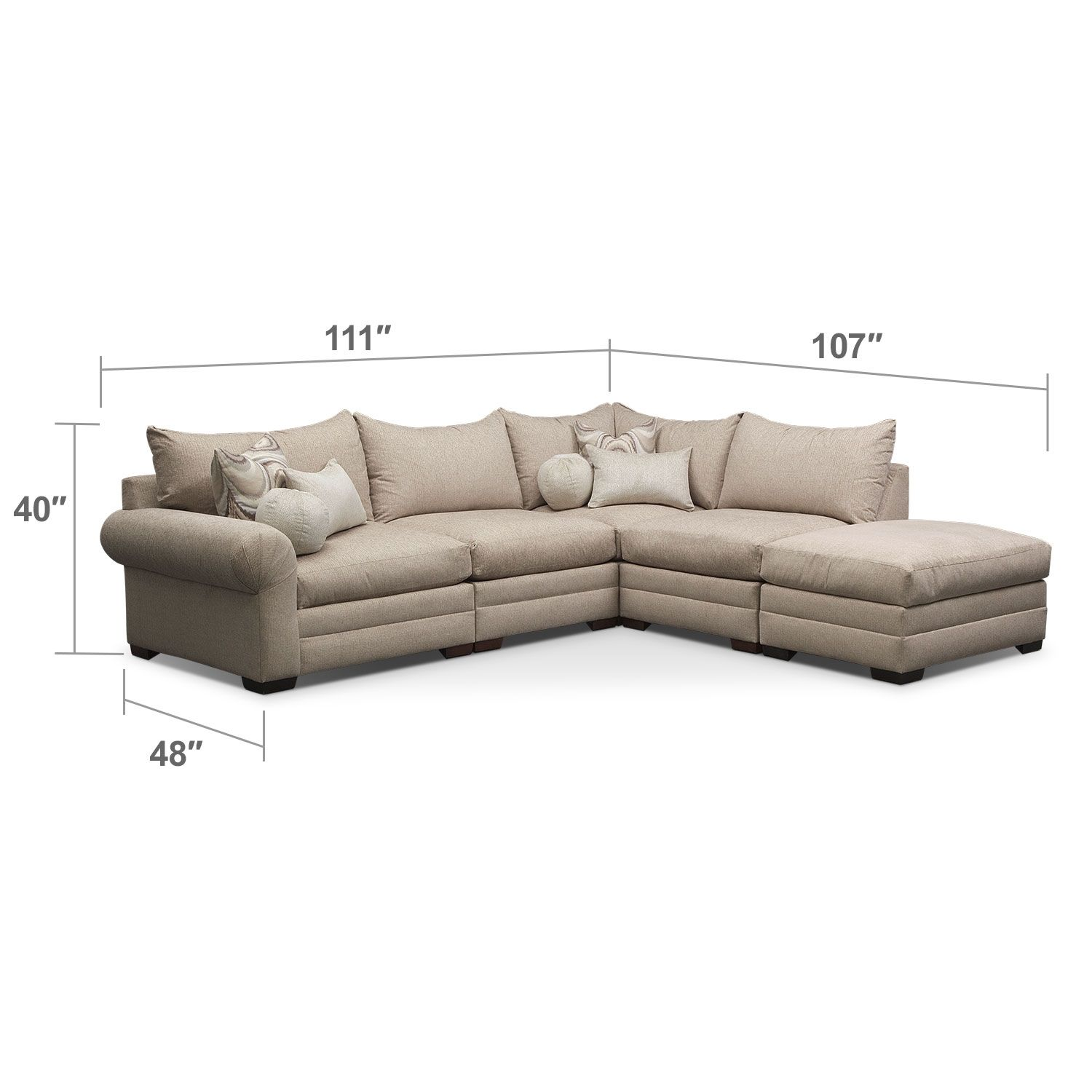 Wilshire 5 Pc Sectional Value City Furniture Furniture Sectional