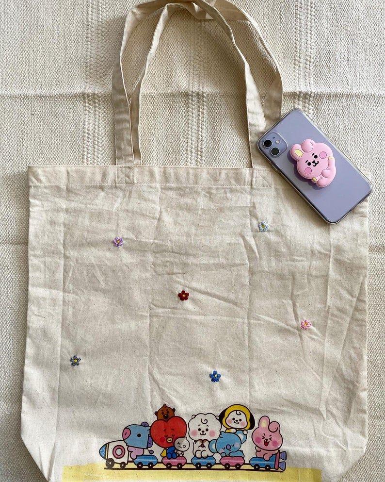 /'Calm Down/' Design Cotton Shoulder Bag Natural Material Printed Canvas Shopper Bay