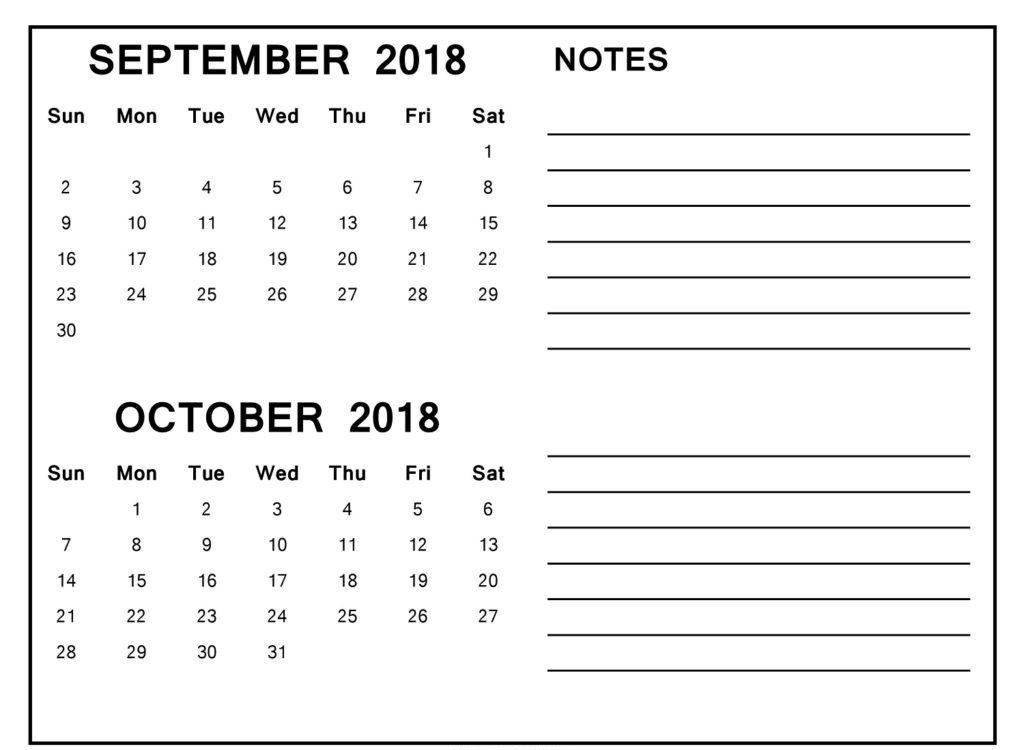 Online September October 2018 Calendar Template September Calendar