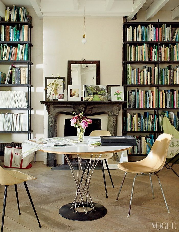 not much i love more than an antique fireplace and books | Vogue American Pastoral Miranda Brooks and Bastien Halard's Brooklyn Home 2