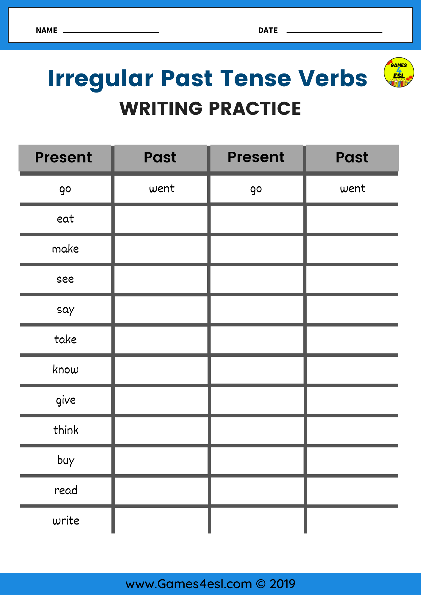 Irregular Past Tense Worksheets In