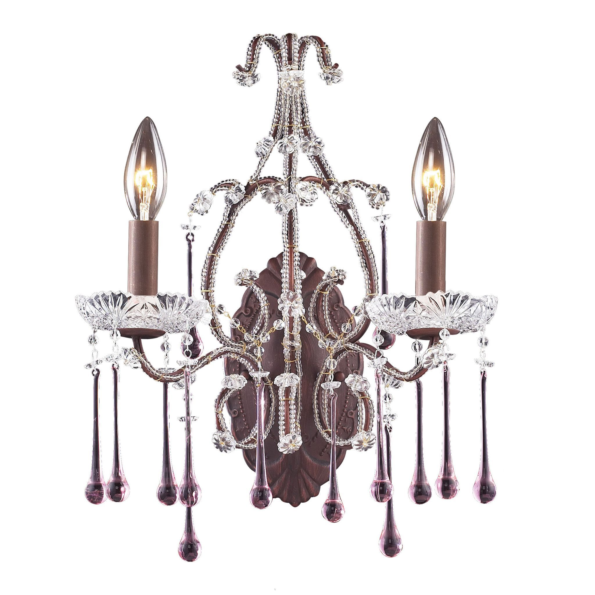 ELK 2 Light Wall Bracket In Rust And Rose Crystal - 4010/2RS