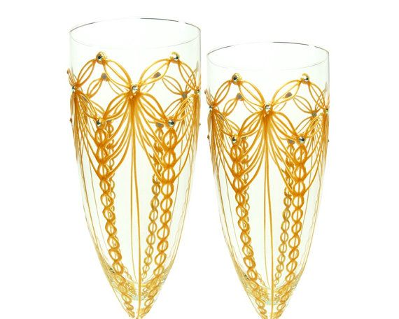 Silver Wedding Champagne Flutes New Years Champagne door decouverre