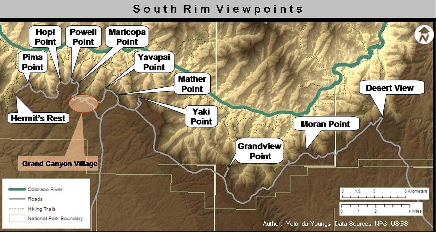 South Rim Viewpoints Grand Canyon South Rim Grand Canyon