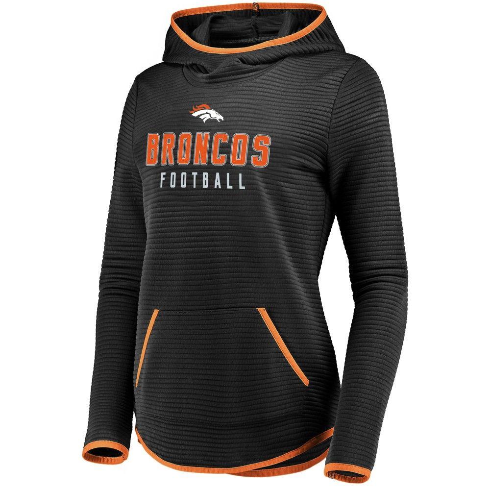 NFL Denver Broncos Women's Linear Hood Black Scuba Neck