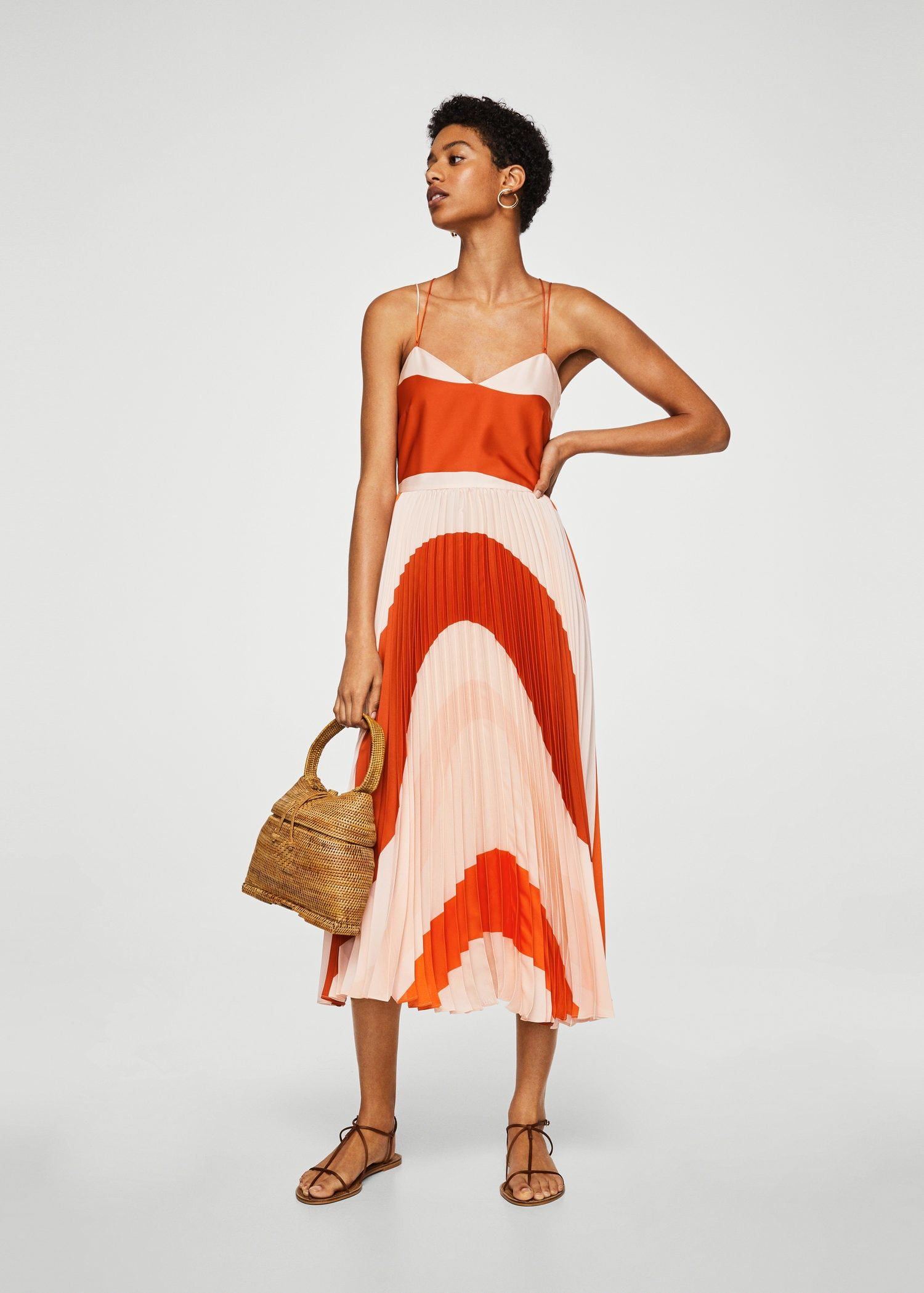 Pleated bicolor dress - Woman   Mango   Dresses, Summer wedding ... 03921f69d2