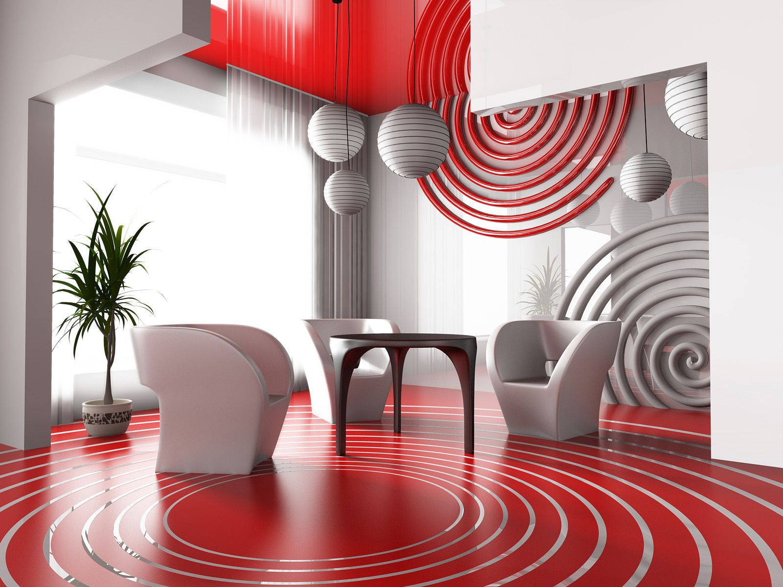 Reception, creative, trendy, red and white, spheres and circles
