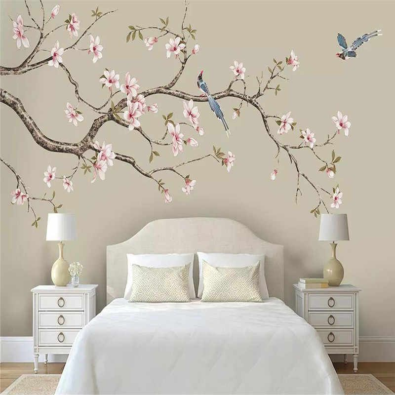 Custom Mural Wallpaper Magnolia Chinese Hand Painted Flowers And Birds Background Wall Painting