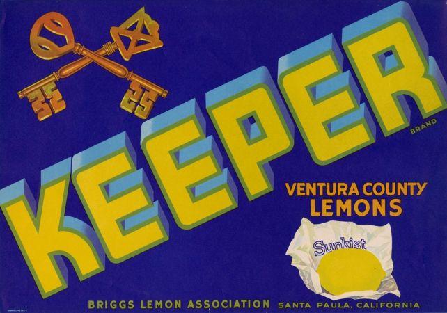 Keeper Ventura County Lemons Briggs Lemon Assn Santa Paula Ca Fruit Crate Labels Detail Los Angeles Public Li Fruit Crate Label Crate Label Fruit Labels
