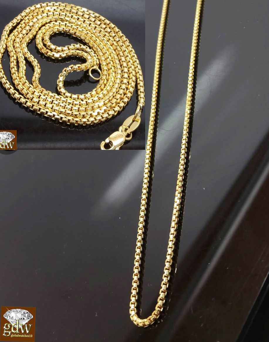Real 10k Yellow Gold Necklace Rolo Box Ladies Chain For Pendant Women Rope Link Gold Chains For Men Chains For Men Gold