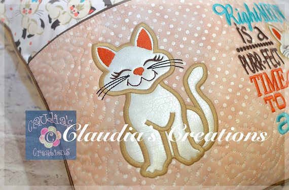 Kitty Cat Applique Standing Cat Applique Design Smiling Kitten
