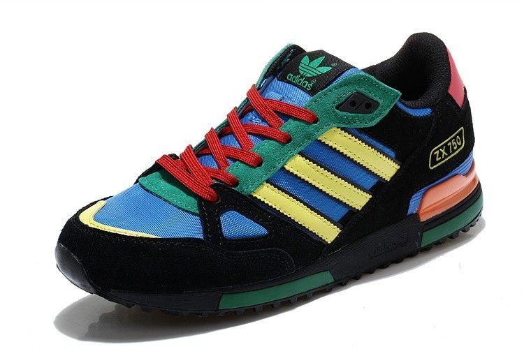 Adidas Originals Herren Zx750 Beilaufig Schuhe Schwarz Blau Grun Gelb D65888 Schwarze Schuhe Schwarz Blau Adidas Originals Herren