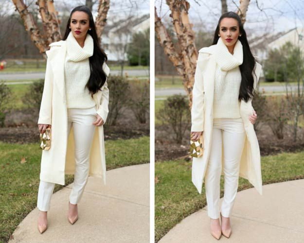 6a70b26d0d Monochrome White Outfit For Winter. 45 Cute Winter Outfits to Keep you Warm  and Chic Cream Outfits, White Outfits,