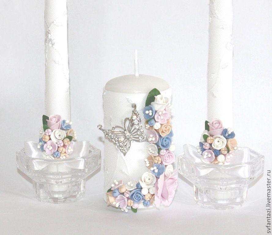 """Купить Свечи свадебные""""Бабочки"""" 2 - белый, свечи семейный очаг, свечи ручной работы"""