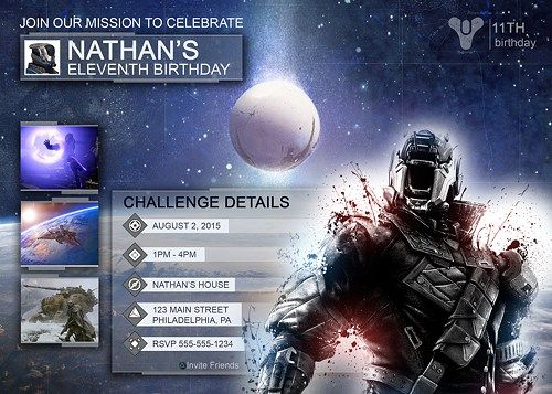 Destiny Birthday Party Invitations Video Game Digital Printables - Birthday party invitation videos