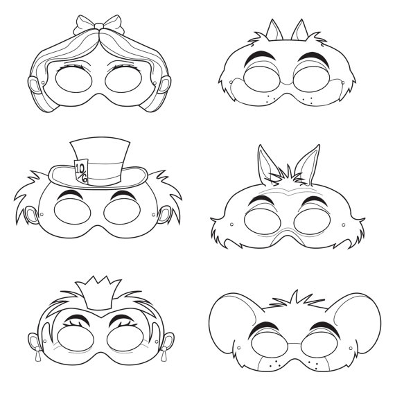 Alice in Wonderland Coloring Masks, alice mask, mad hatter mask ...