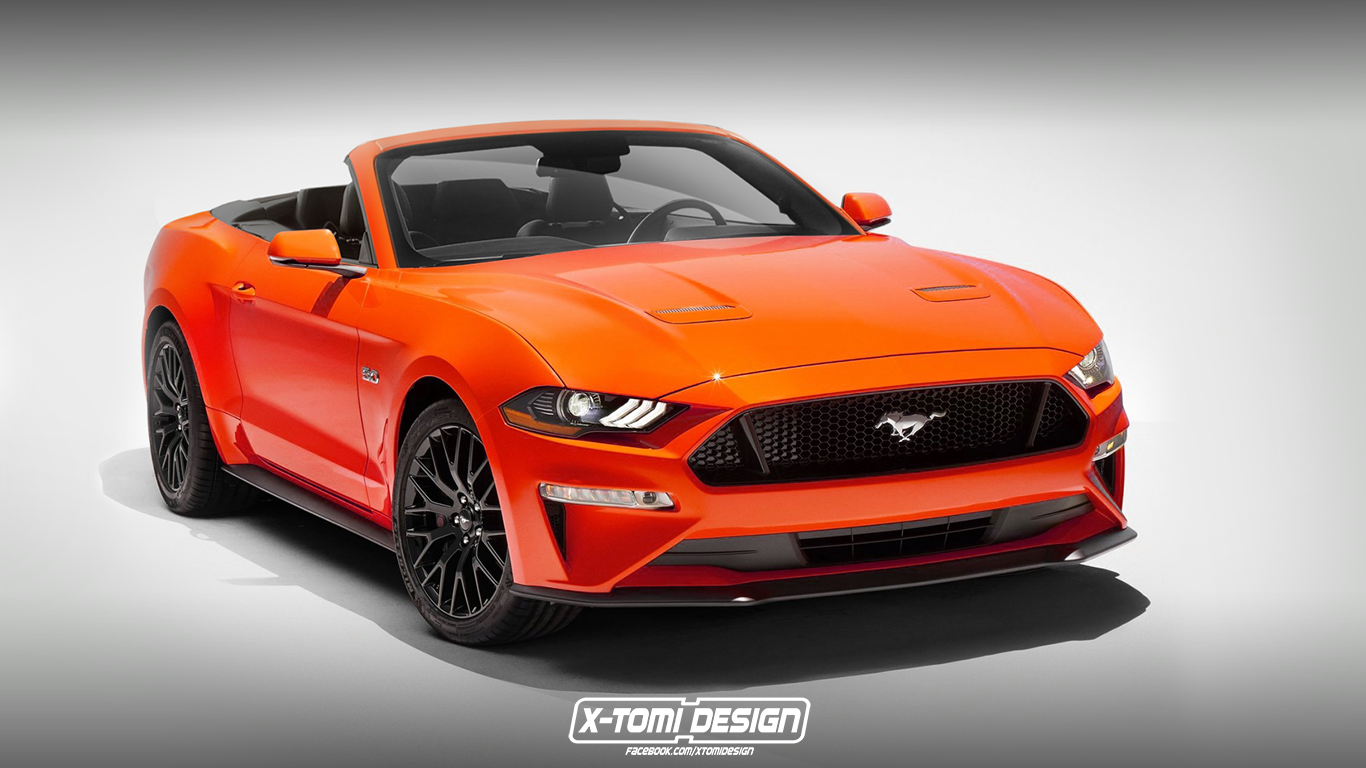 The facelifted 2018 ford mustang has been rendered as a convertible