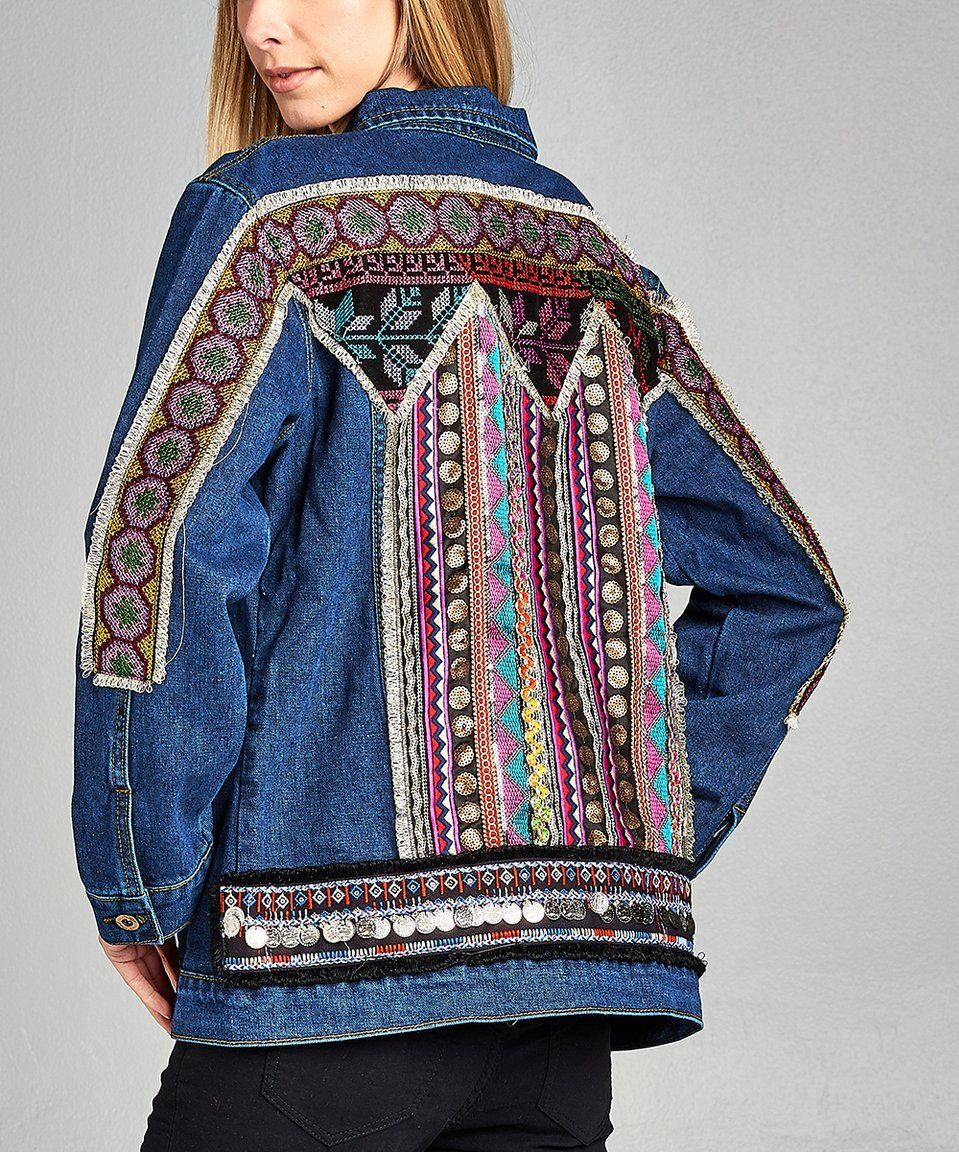 d2c3b03b21c1 Take a look at this Dark Blue Embroidered-Back Denim Jacket - Women & Plus  today!