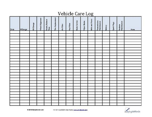 Vehicle Care Log - Printable PDF Form for Car Maintenance - Log Template Excel