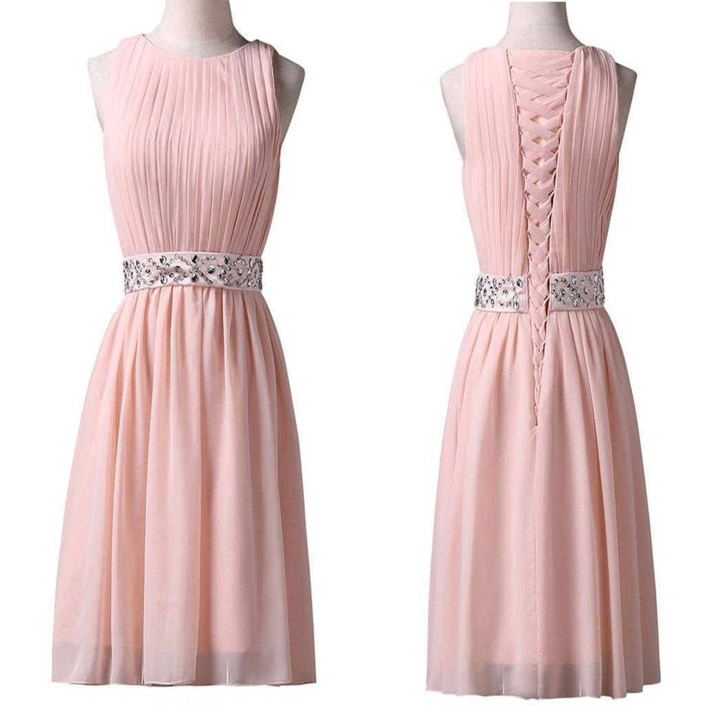 Light pink jewel sleeveless chiffon lace up back homecoming dresses