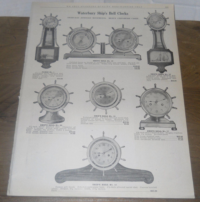 1929 Waterbury Ship's Bells Clocks 2 Sided A C B Catalog