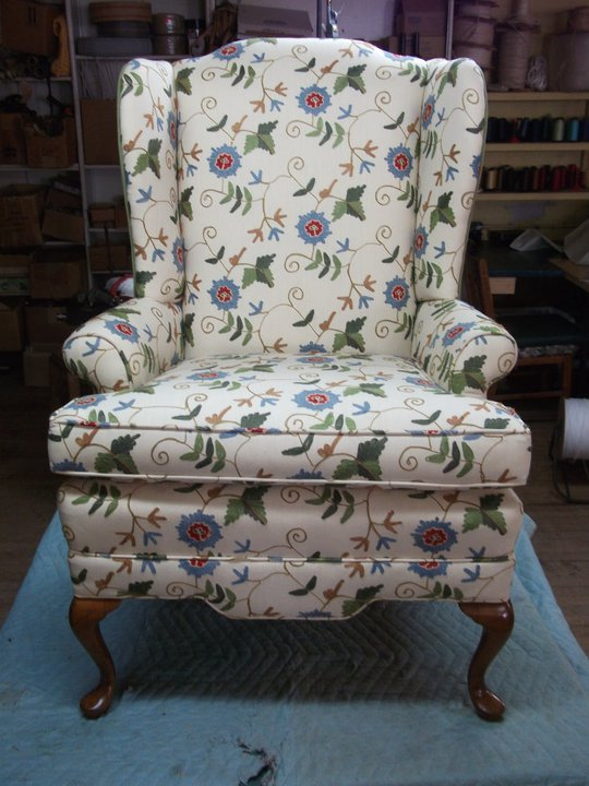 Tepe Furniture In South Bend, IN. A Family Owned Business Reupholstering  Since 1920. Love The Fabric Choice For This Old Wing Back Chair.