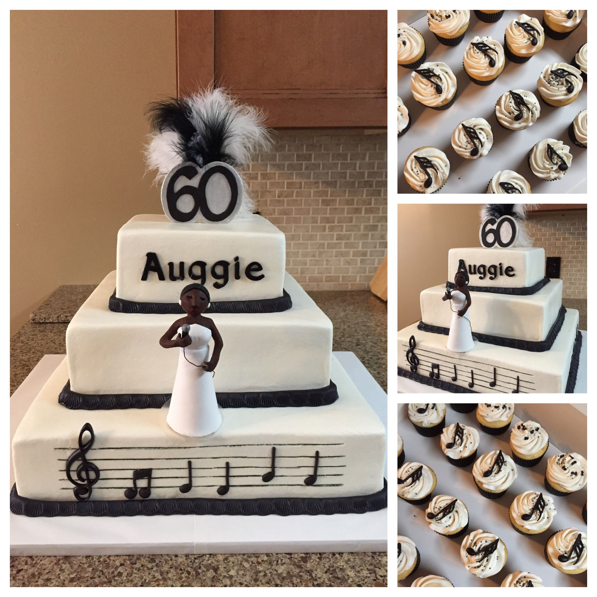 Buttercream 81216 tier music themed 60th birthday cake with