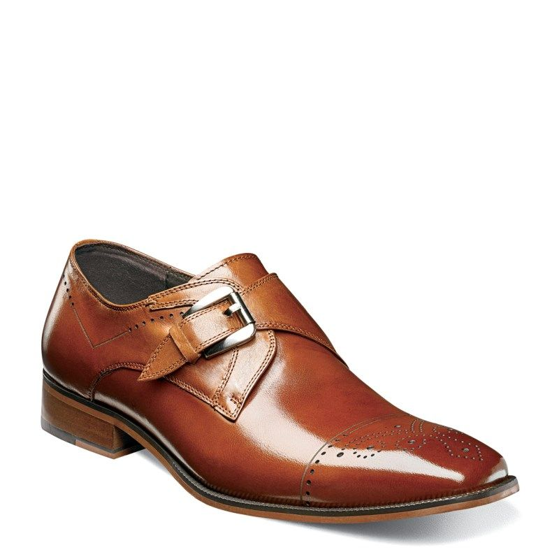 Stacy Adams Men's Kimball Memory Cap Toe Monk Strap Slip On Shoes (Saddle  Tan Leather