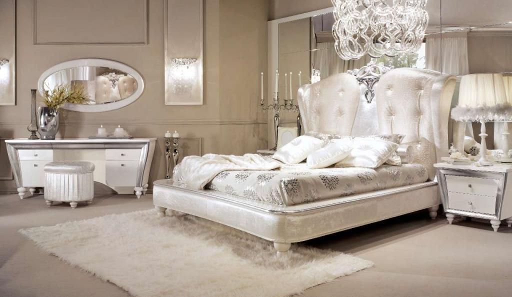 Vintage luxury bedroom design with silver gold headboard and ...