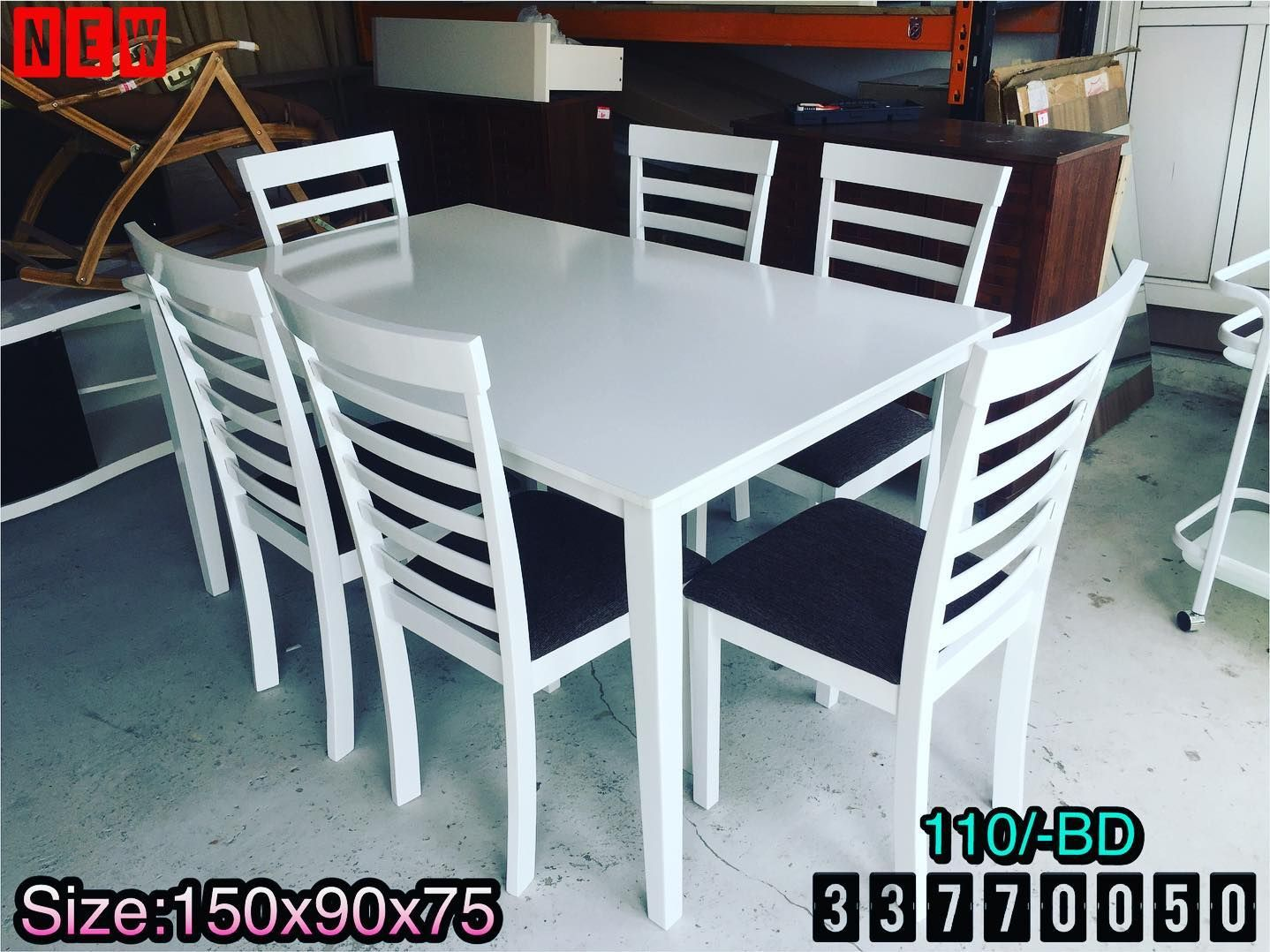 Dining Table For 6 Person Size 150x90x75 Wood White Color New Made In Malaysia Price 110 Bd طاولة طعام ل 6 أشخاص خشب لون Home Decor Home Furniture
