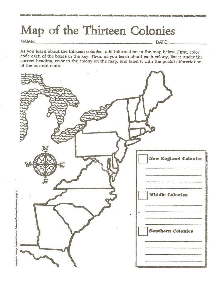 Thirteen Colonies Map of the Thirteen Colonies 13