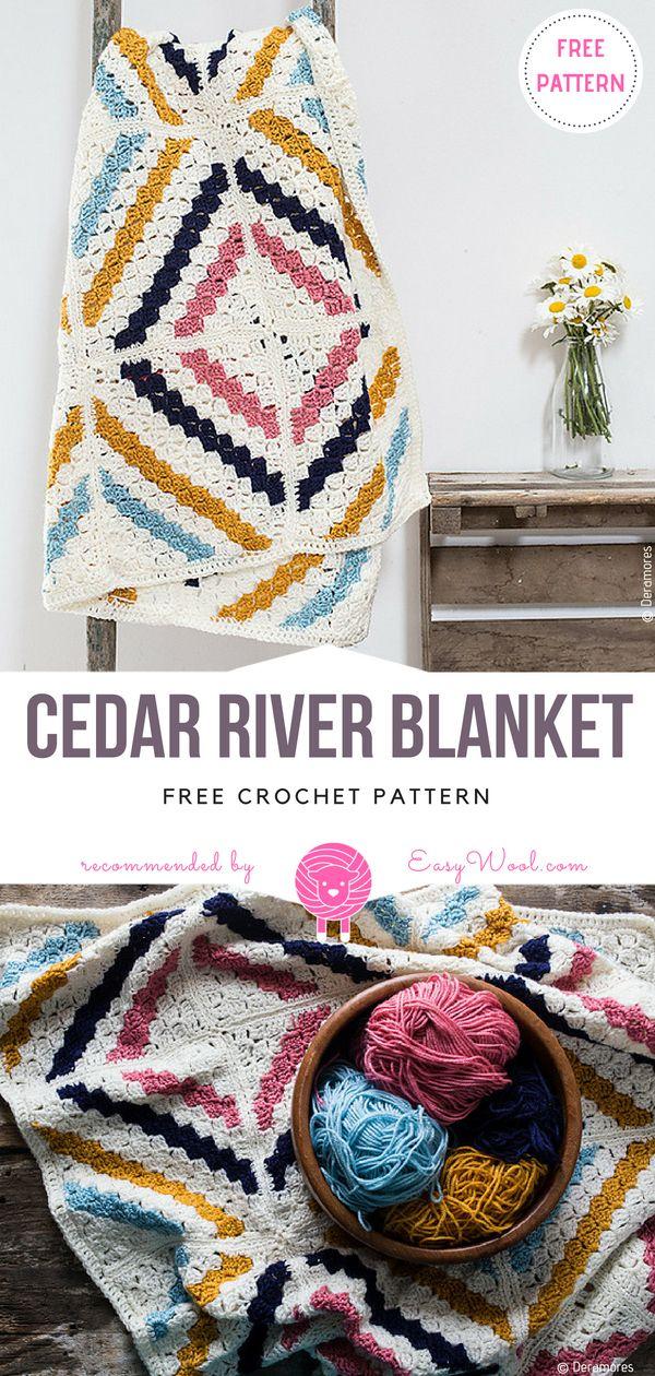 Cedar River Blanket Free Crochet Pattern | Pinterest
