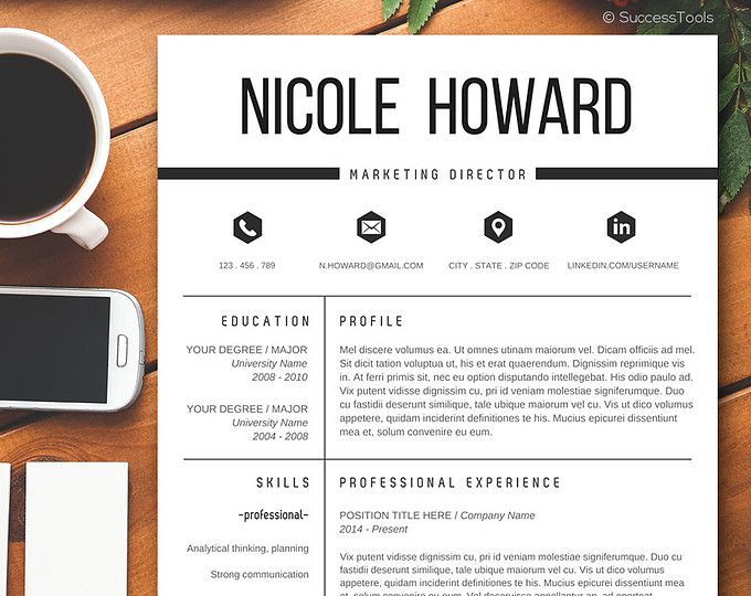 Modern Resume Template + Cover Letter Template for Word | DIY ...