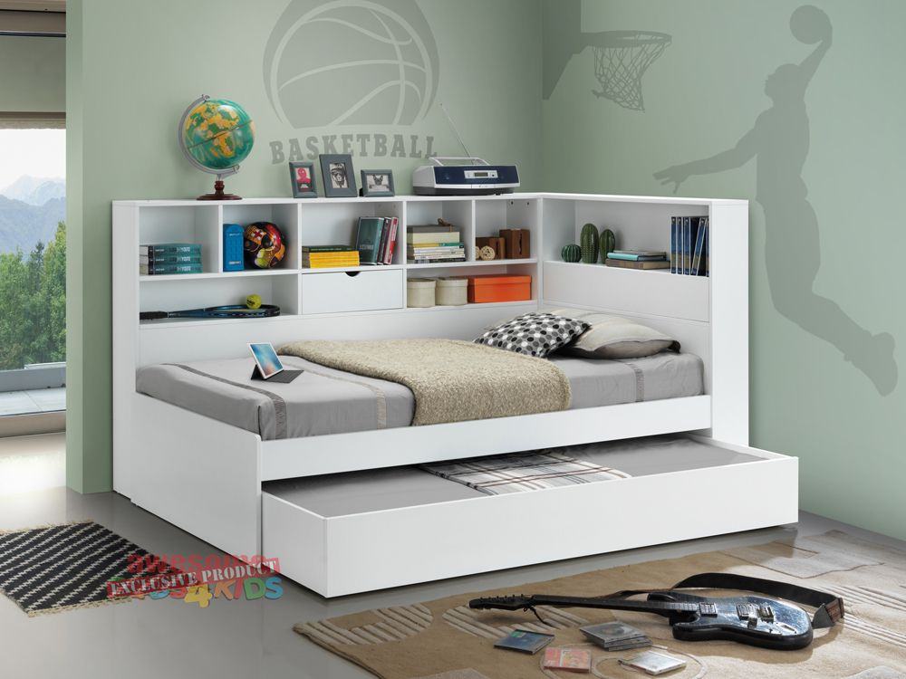 2 King Single Miami Trundle Bed With Bookcase With Images