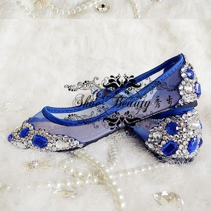 Navy Blue Flat Spring And Summer Single Shoes Crystal Wedding