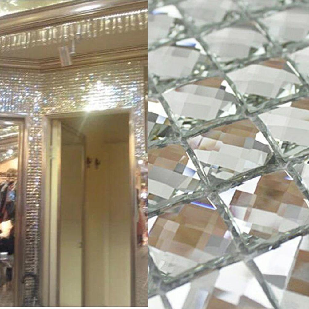 Mirror Tiles Sliver Crystal Diamond Mosaic Tile Backsplash Bevel Glass 1 Sheet Mirror Tiles Mosaic Tile Backsplash Glass Mosaic Backsplash