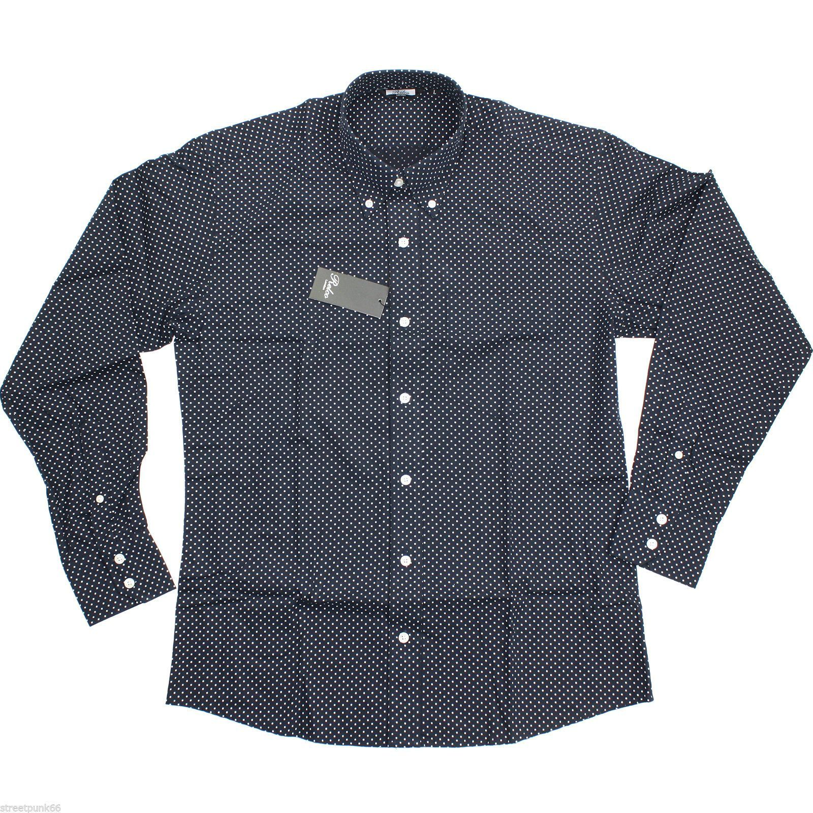 Relco Mens Navy Pin Dot Button Down Long Sleeved Shirt Mod Skin Retro 60s 70s