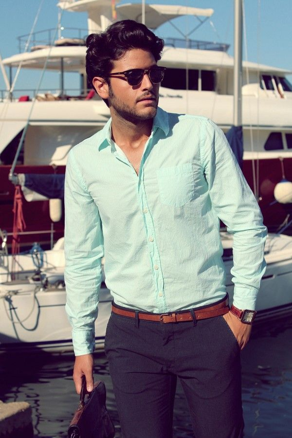 I Love The Simplicity Of This Outfit However The Colors Are Perfect Just As The Fitting Is Mens Shirt Dress Mens Dress Shirts Outfit Mint Shirt Outfits