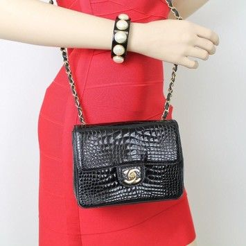 bbfd310f6e5e Chanel Vintage Black Crocodile Mini Classic Flap Shoulder Bag. Get one of  the hottest styles of the season! The Chanel Vintage Black Crocodile Mini  Classic ...