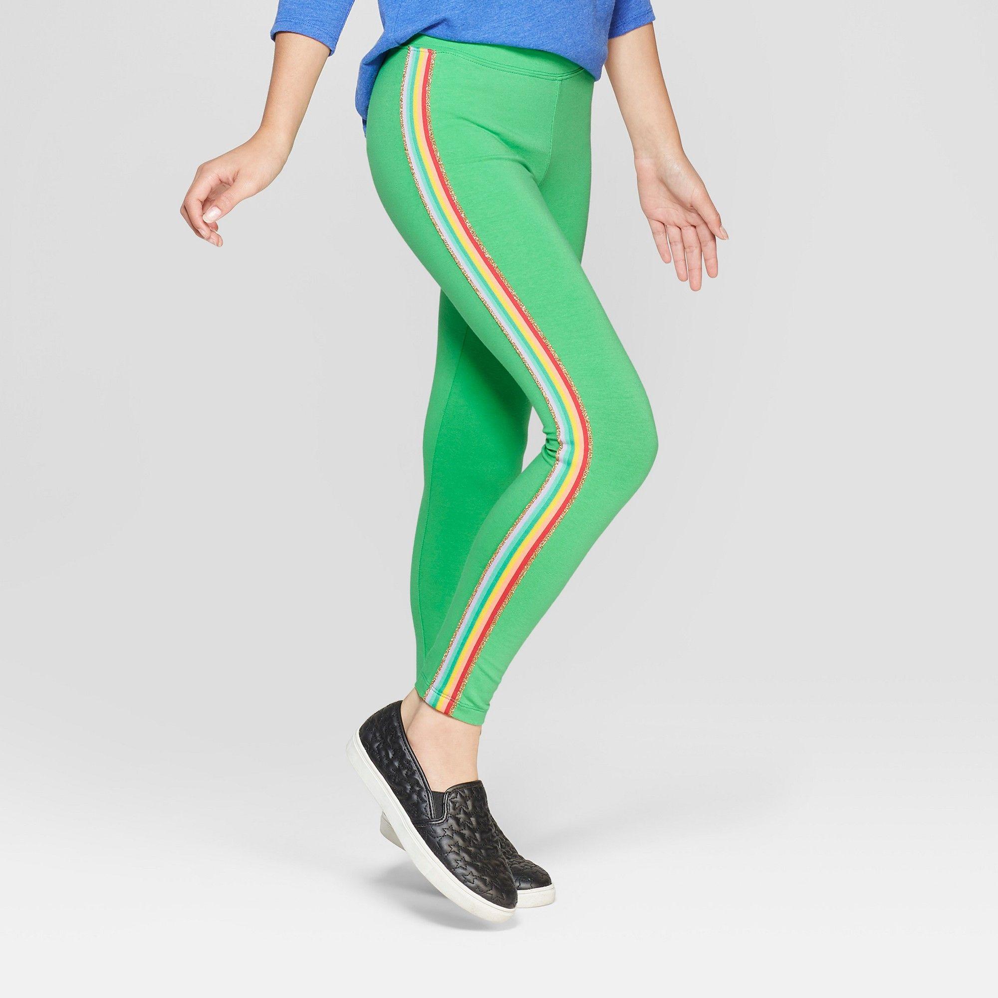 f51c5a1b79c Girls  Rainbow Side Stripe Leggings - Cat   Jack Green XL