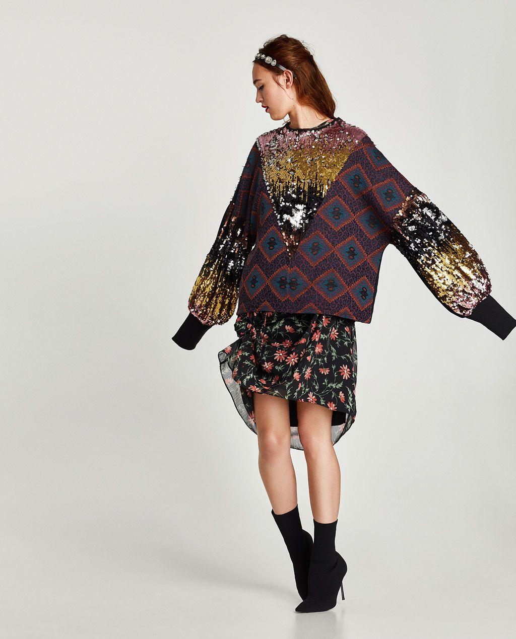 Zara kleid pailletten grun