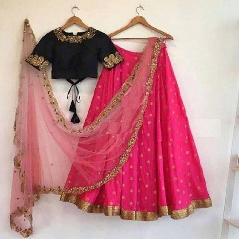 ccdb6f88dbc610 Pink embroidered art silk unstitched lehenga