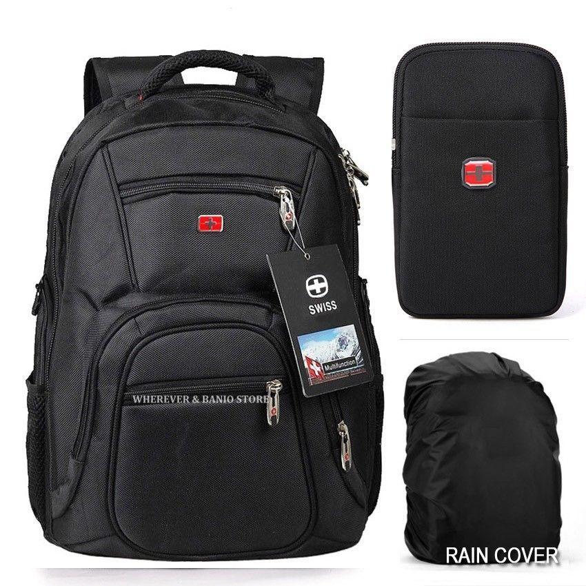 Men Waterproof Travel Gear Backpack Swiss Laptop Hiking Rucksack School Bag
