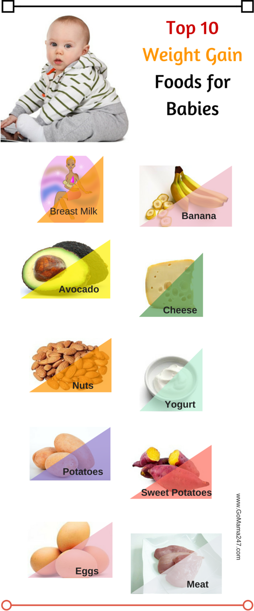 Top 10 healthy foods for babies to gain healthy weight.
