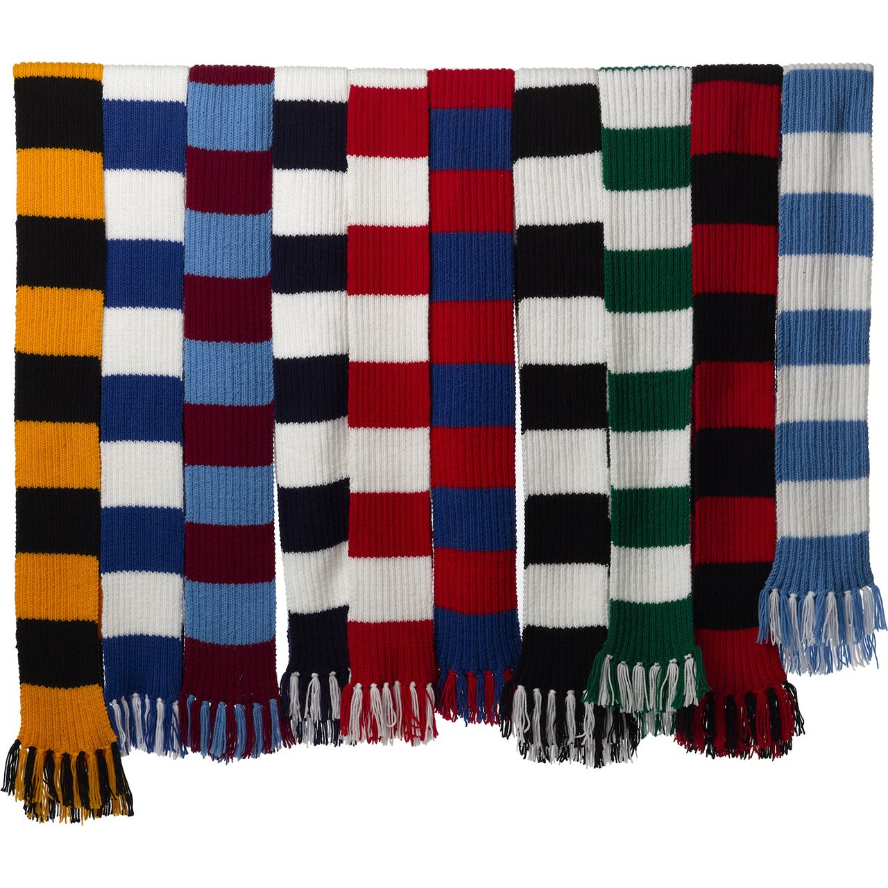 Striped Football Rugby Scarf Kit Knitting Pattern Wool