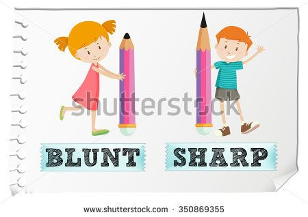 Opposite adjectives with blunt and sharp illustration