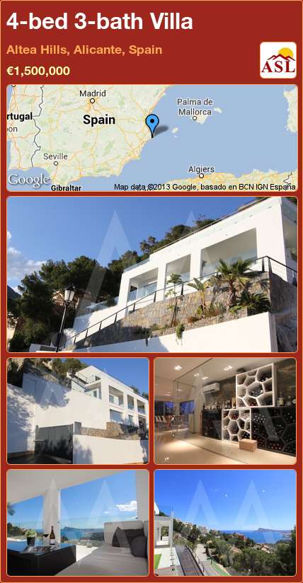 4-bed 3-bath Villa in Altea Hills, Alicante, Spain ►€1,500,000 #PropertyForSaleInSpain