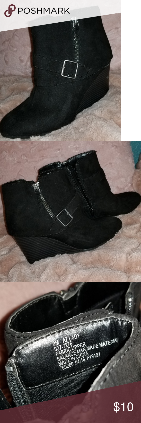 ce7c1d1dabe Ankle Black Wedge Booties Used, there is some mild scuffing on sides but  not noticeable. Worn a few times, comfy. Arizona Jean Company Shoes Ankle  Boots & ...